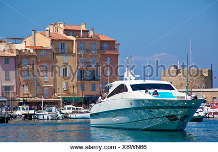Luxury yacht in the harbour of St. Tropez, Var, Cote d'Azur, South France, France, Europe, Mediterranean Sea - Stock Photo