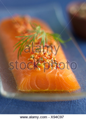 Thick piece of raw salmon - Stock Photo
