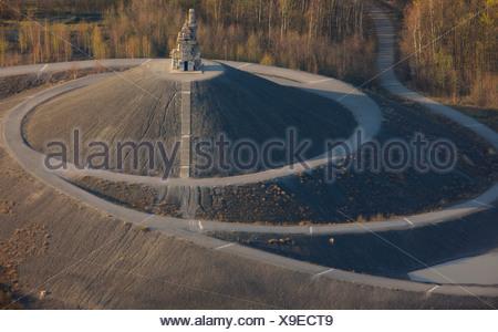 Aerial view, Himmelstreppe or stairway to heaven by artist Herman Prigann, Rhein-Elbe area, Rhine-Elbe dump, landscape structure - Stock Photo