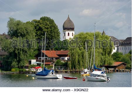 The island Frauenchiemsee or Fraueninsel, Chiemsee Lake, Chiemgau region, Bavaria - Stock Photo