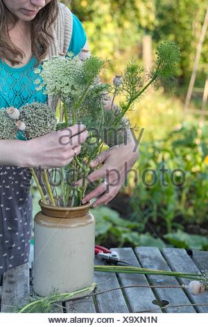 Mature woman arranging fresh ferns in jar at allotment - Stock Photo