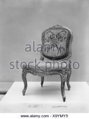 Side chair (one of a pair, part of a set). Date: mid-18th century; Culture: Italian, Venice; Medium: Walnut, painted and silvered; wool petit point - Stock Photo