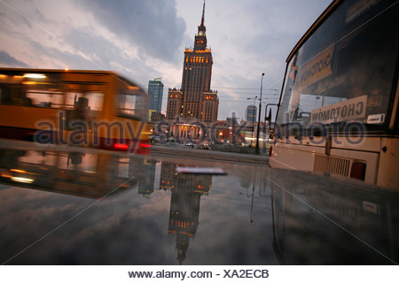The center of Warsaw, Poland, with the prominent Palace of Culture and Science - Stock Photo