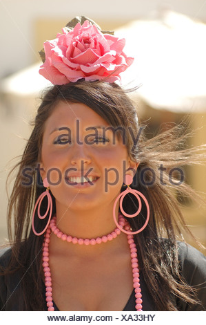 Girl in traje de gitana , Feria de Caballo , Jerez de la Frontera , Cadiz , Andalusia , Spain , Europe - Stock Photo