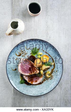Tuna Tataki with Potatoes - Stock Photo