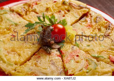 Japanese food close-up Okonomiyaki. - Stock Photo
