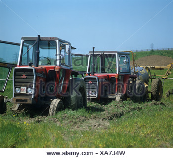 Two Massey Ferguson tractors bogged down in a field of young barley after heavy rain - Stock Photo