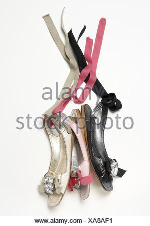 Lady's shoes, sandals, ribbons, - Stock Photo