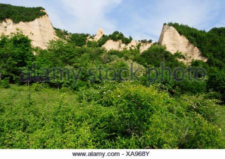 sandstone pyramids of Melnik, Bulgaria, Pirin-Gebirge, Melnik - Stock Photo