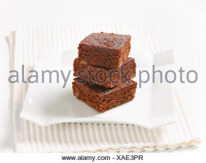 Pile of Fudgy Chocolate Chip Brownies - Stock Photo