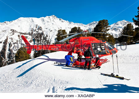 Rescue helicopter, Serfaus Fiss Ladis ski area, Tyrol, Austria, Europe - Stock Photo