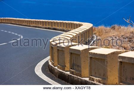 Road barrier on a curvy mountain road at El Suclum, La Montañita, La Montañita, Tenerife, Canary Islands, Spain - Stock Photo