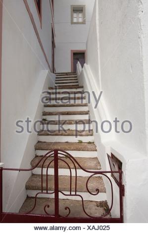 Algarve, Caldas de Monchique, house, home, Portugal, Europe, stair, swimming - Stock Photo