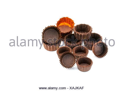 Brown chocolate rounded baking paper cups - Stock Photo