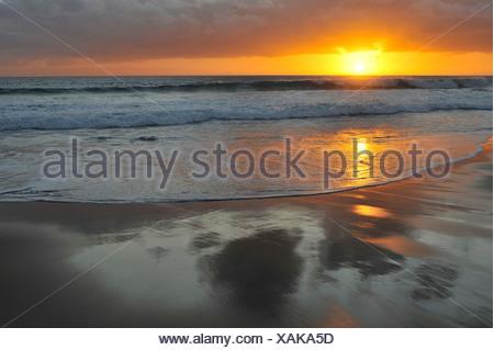 Sunset at the Atlantic, Fuerteventura, Canary Islands, Spain, Europe - Stock Photo