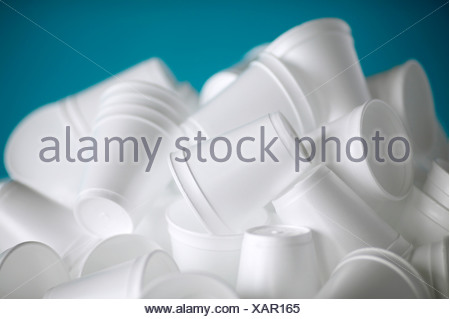 A pile of empty new styrofoam cups, Montreal, Quebec, Canada. - Stock Photo