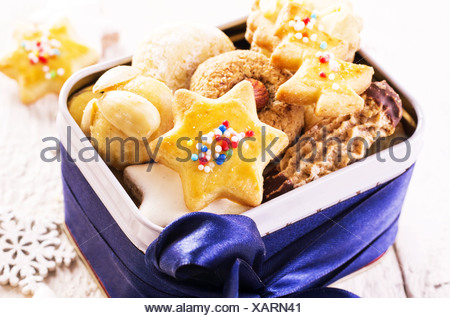 christmas cookies in a box - Stock Photo
