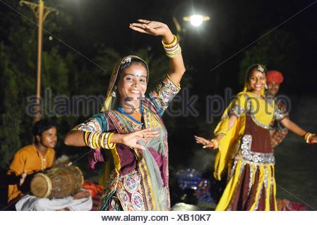 Rajasthani traditional dance in Jaipur, Rajasthan, India. - Stock Photo