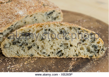 Pot bread with wakame seaweed, No-Knead Bread, recipe is available - Stock Photo