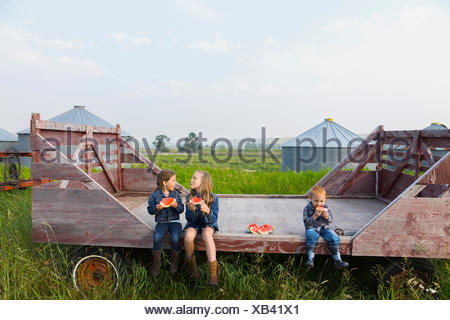 Girls and boy eating watermelon on farm - Stock Photo