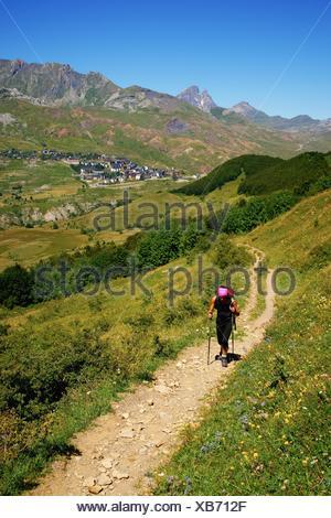 walker in Valle de Tena Huesca Pyrenees Pyrenees Mountains Spain - Stock Photo