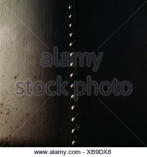 Nuts in row against grey background - Stock Photo