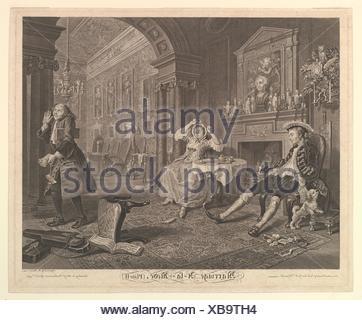 Marriage A-la-Mode, Plate II. Engraver: Bernard Baron (French, Paris 1696-1762 London); Artist: After William Hogarth (British, London 1697-1764 - Stock Photo