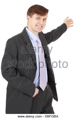 Hospitable businessman in a business suit on white background - Stock Photo