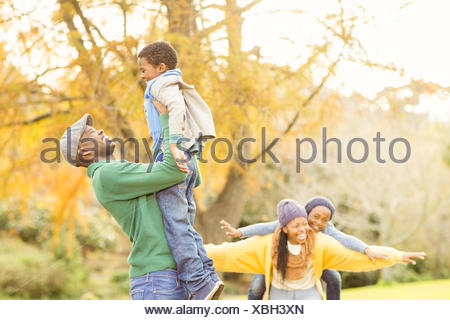 View of a happy young family - Stock Photo