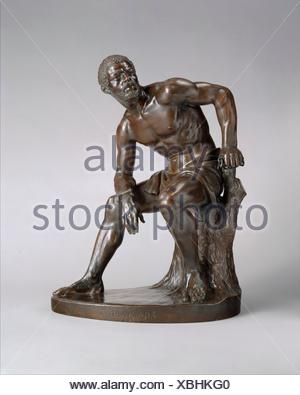 The Freedman. Artist: John Quincy Adams Ward (American, Urbana, Ohio 1830-1910 New York); Date: 1863, cast 1891; Medium: Bronze; Dimensions: 19 1/2 x - Stock Photo