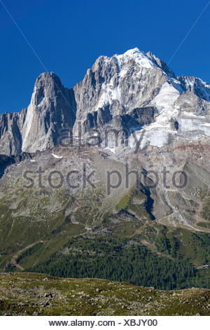 View of Aiguille Verte Les Drus. Mont Blanc. Haute Savoie. France - Stock Photo