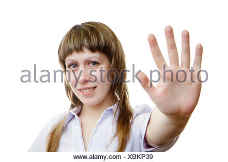 Young girl shows her hand - Stock Photo