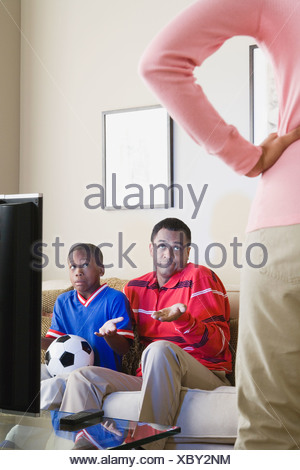 USA, California, Los Angeles, Domestic scene with Mother, Father and Son (12-13) - Stock Photo