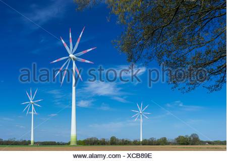 wind turbine, carum, vechta, vechta district, oldenburger münsterland, lower saxony, germany - Stock Photo