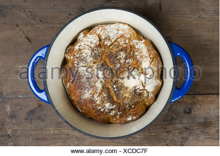 Sourdough bread baked in a pot, the dough does not need to be kneaded, No-Knead-Bread - Stock Photo