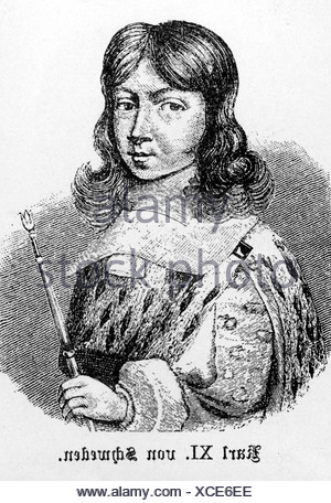 Charles XI, 24.11.1655 - 15.4.1697, King of Sweden since 23.2.1660, portrait, wood engraving, 19th century, Additional-Rights-Clearances-NA - Stock Photo