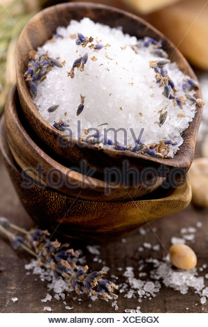 Spa salt, lavender and soaps (spa and body care background) - Stock Photo