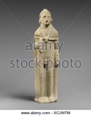 Limestone statuette of Pan. Period: Hellenistic or Roman; Culture: Cypriot; Medium: Limestone; Dimensions: Overall: 14 1/2 x 4 x 2 in. (36.8 x 10.2 x - Stock Photo