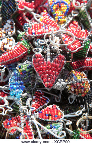 Close Up of African beaded heart keyring Grahamstown Eastern Cape Province South Africa - Stock Photo