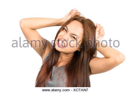 Frustrated Asian Girl Temper Tantrum Pulling Hair - Stock Photo