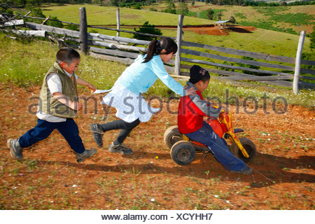 Childre playing with a tricycle, Mapuche Indians, near Concepción, Southern Chile, Chile, South America - Stock Photo
