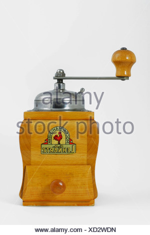 Wooden coffee mill, mocha grinder - Stock Photo