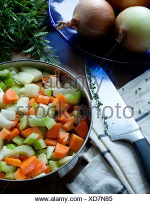 Freshly chopped vegetables - Stock Photo