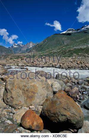 Chandra River near Kunzum La or Kunzum Pass, Lahaus and Spiti district, Himachal Pradesh, Indian Himalayas, North India, India - Stock Photo