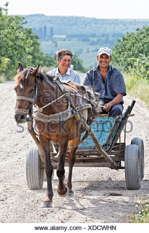 Horse cart, Moldova, Southeastern Europe - Stock Photo