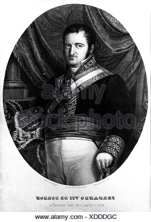 Ferdinand VII, 14.10.1784 - 29 .11.1833, King of Spain 19.3. - 2.5.1808, 11.12.1813 - 29.9.1833, half length, steel engraving, early 19th century, Artist's Copyright has not to be cleared - Stock Photo