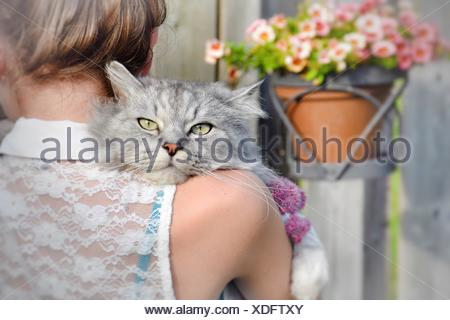 Rear view of a woman holding a cat - Stock Photo