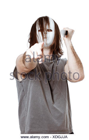 scary, horror, freak, crazy, killer, pointing, arm, weapon, knive, knife, man, - Stock Photo