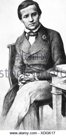 Pasteur, Louis, 27.12.1822 - 28.9.1895, French scientist, as student Ercole Normale, drawing, microbiologist, chemist, creator vaccine anthrax, medicine, historic, , Additional-Rights-Clearances-NA - Stock Photo