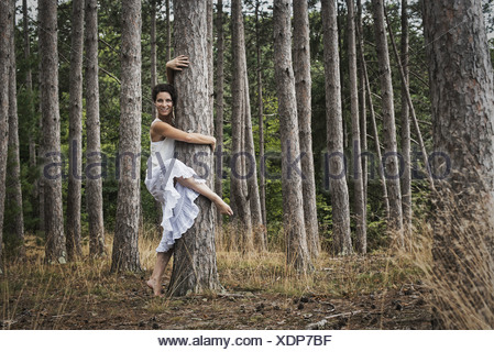 Woodstock New York USA woman dancing gracefully in the open air USA - Stock Photo